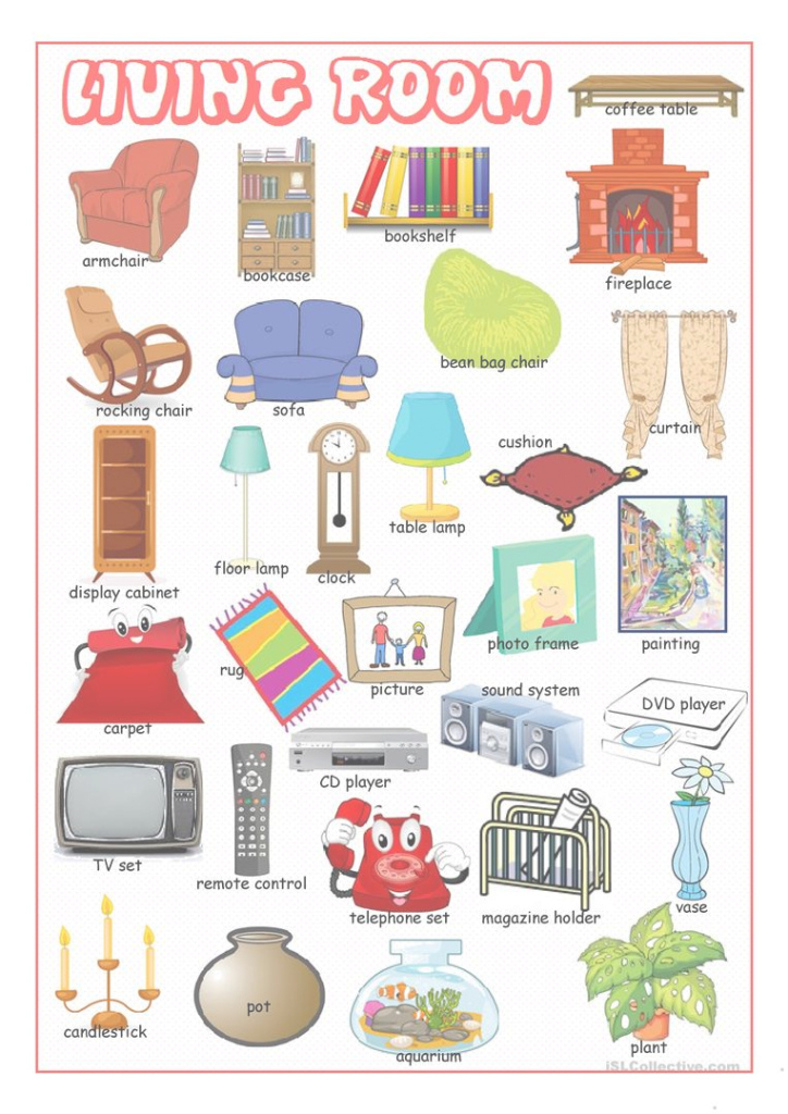 Elite Living Room Picture Dictionary Worksheet - Free Esl Printable in Best of Living Room Dictionary