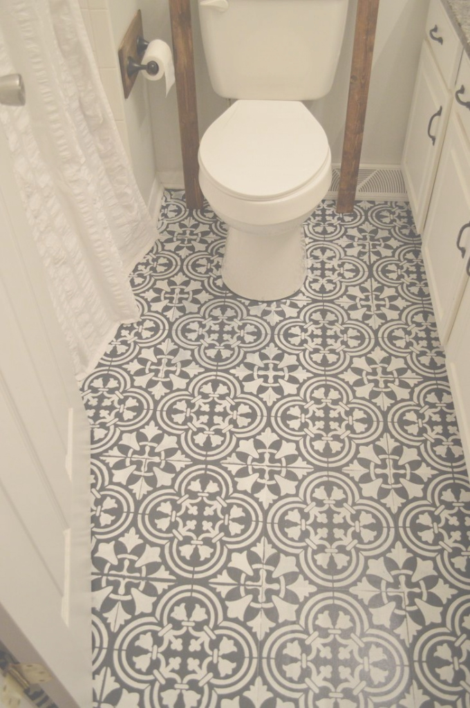 Elite Love Thischalk Paint And Stenciling On A Linoleum Bathroom Floor in Blue Bathroom Lino