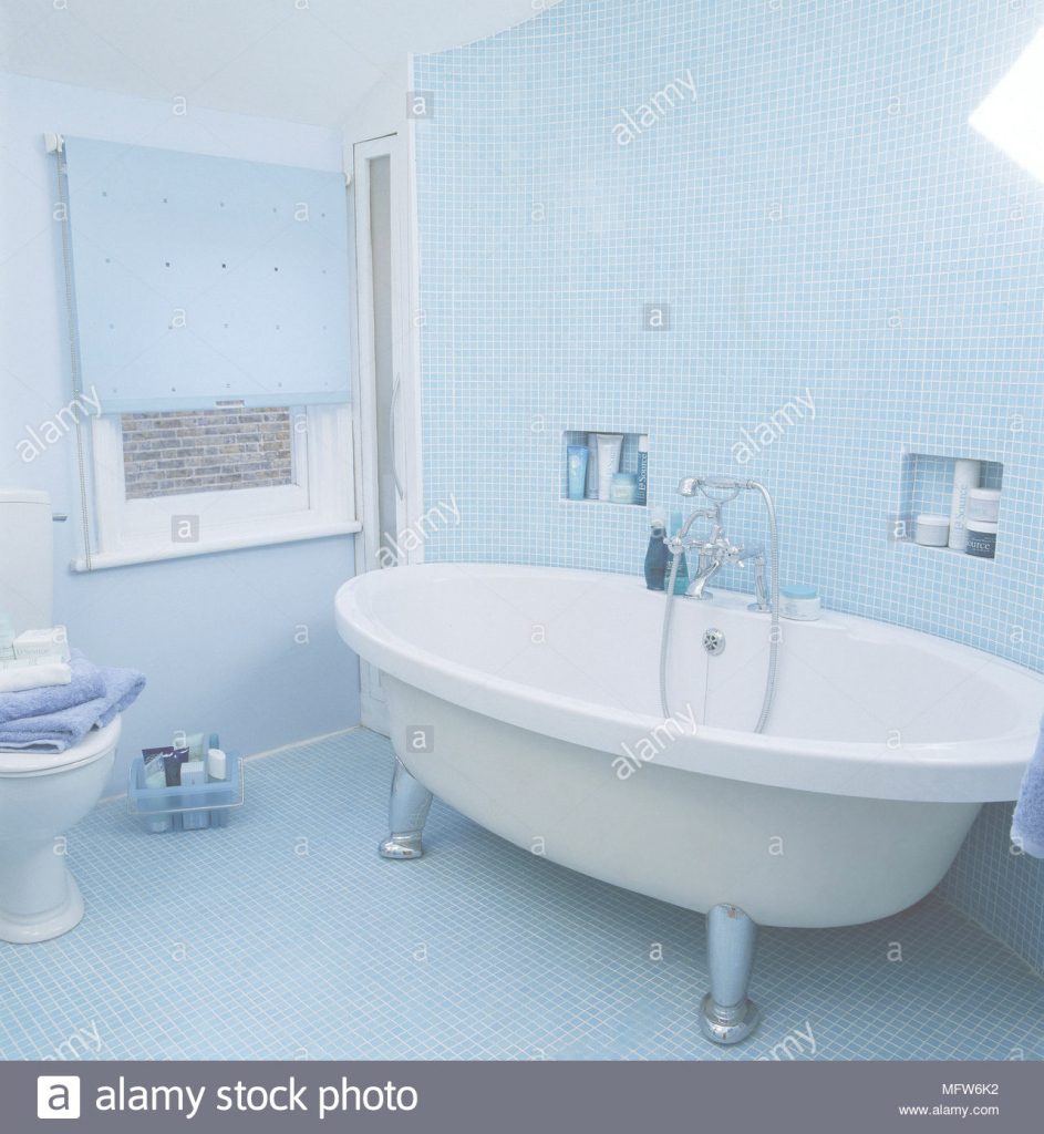 Elite Modern Blue Bathroom With Mosaic Tile Toilet Freestanding Bathtub with regard to Best of Blue Mosaic Bathroom