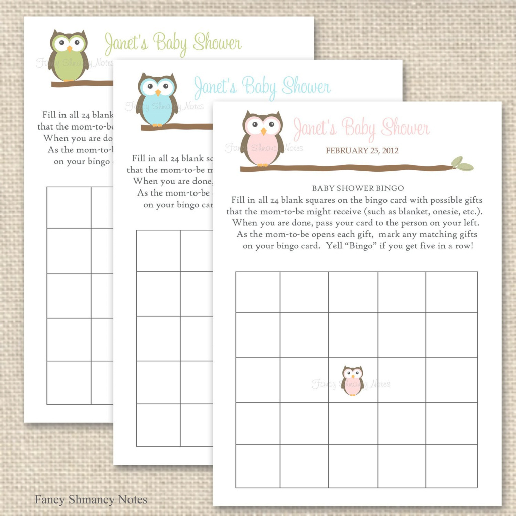 Elite Owl Baby Shower Bingo Game Cards, Item 12316, Printable Baby Shower for Free Baby Shower Bingo