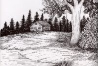 Elite Pen And Ink Wash Landscape | Pen-And-Ink-Landscape-Drawings Images for High Quality Landscape Drawing Ideas
