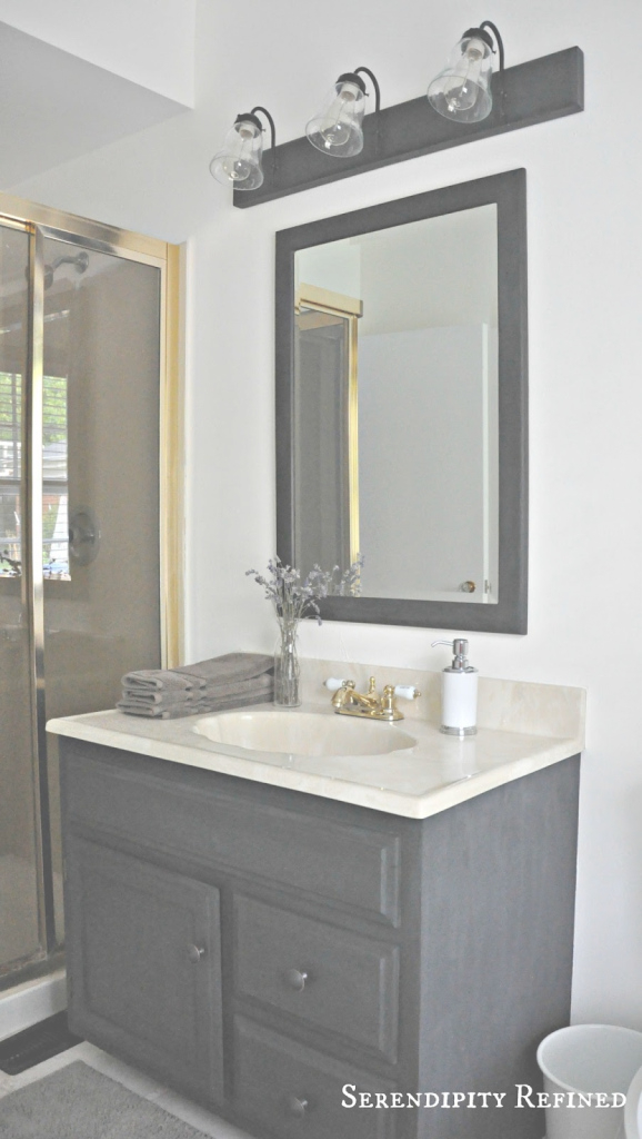 Elite Serendipity Refined Blog: How To Update Oak And Brass Bathroom for Good quality Brass Bathroom Mirror