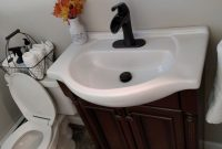 Elite Shallow Depth Farmhouse Sink And Waterfall Faucet For Small Bathroom with New Farmhouse Sink In Bathroom
