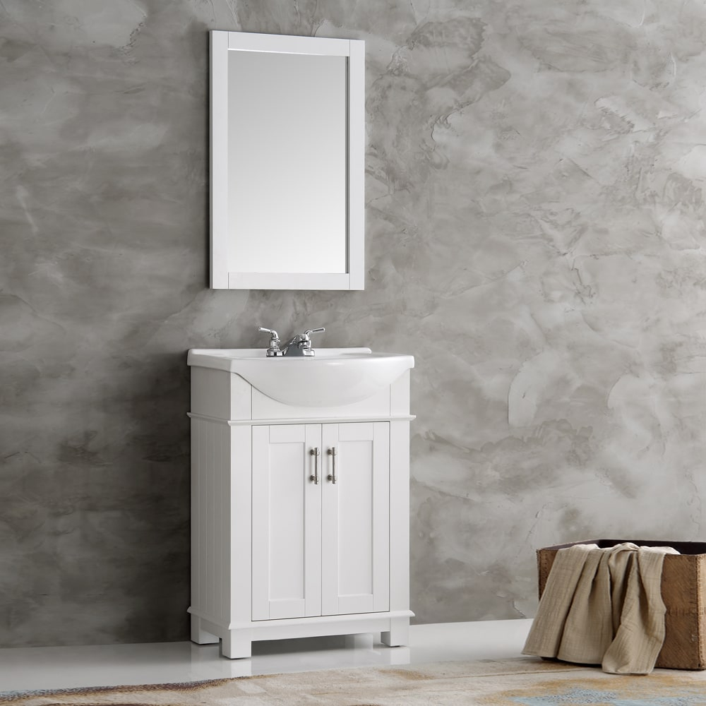 Elite Shop Fresca Hartford White Wood 24-Inch Traditional Bathroom Vanity throughout Awesome Traditional Bathroom Vanity