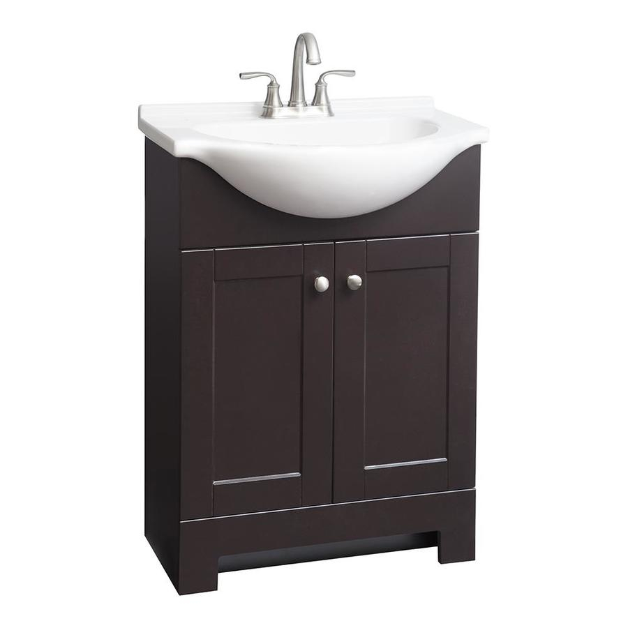 Elite Shop Style Selections Euro Espresso Single Sink Vanity With White for Bathroom Sink And Vanity