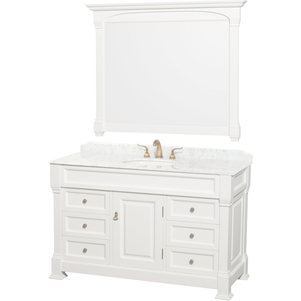 Elite Shop Wyndham Collection Andover White Single Sink Vanity With White with White Bathroom Vanity With Top