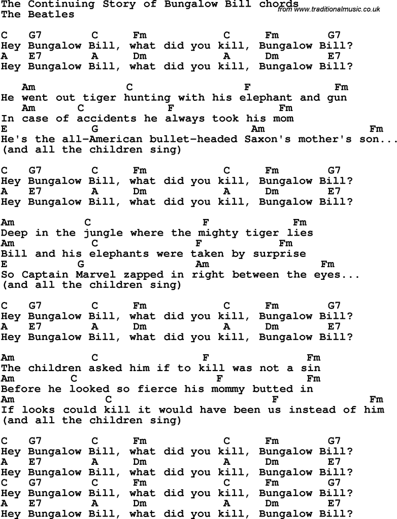 Elite Song Lyrics With Guitar Chords For Continuing Story Of Bungalow Bill for Bungalow Bill Chords