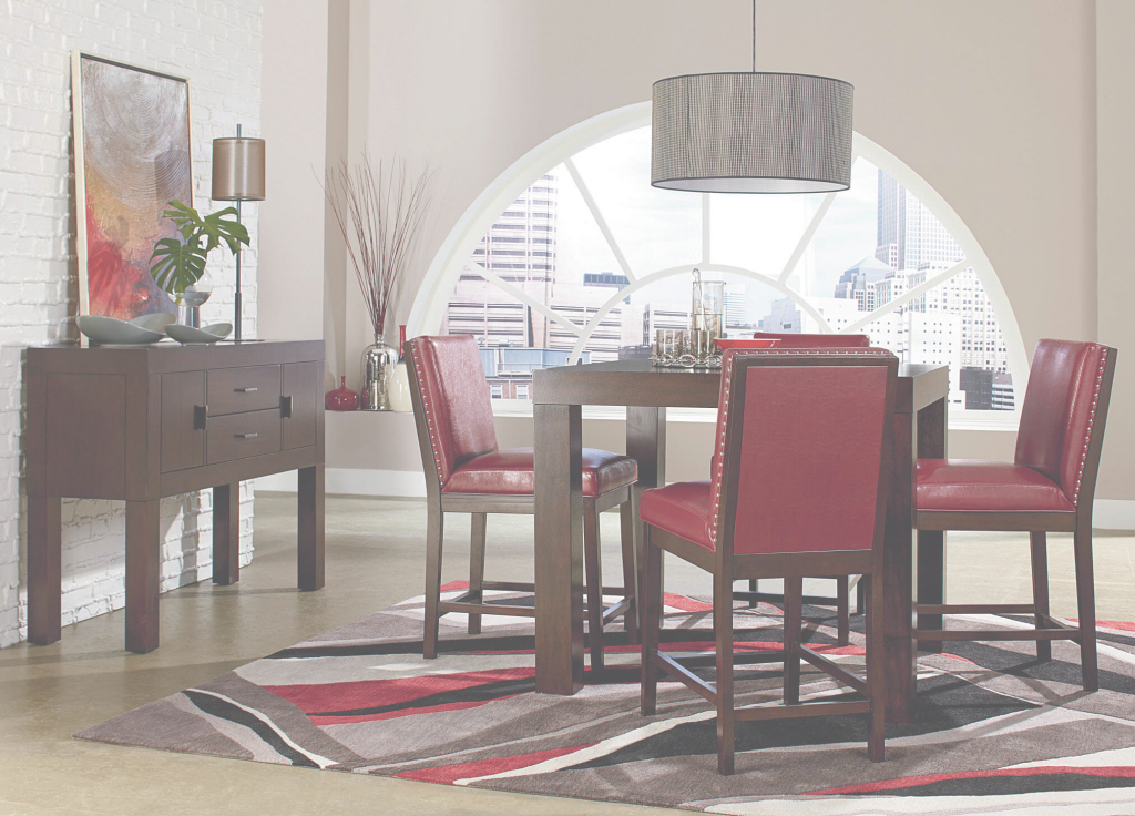Elite Standard Couture Elegance Red Counter Height Set regarding Beautiful Standard Dining Room Table Height