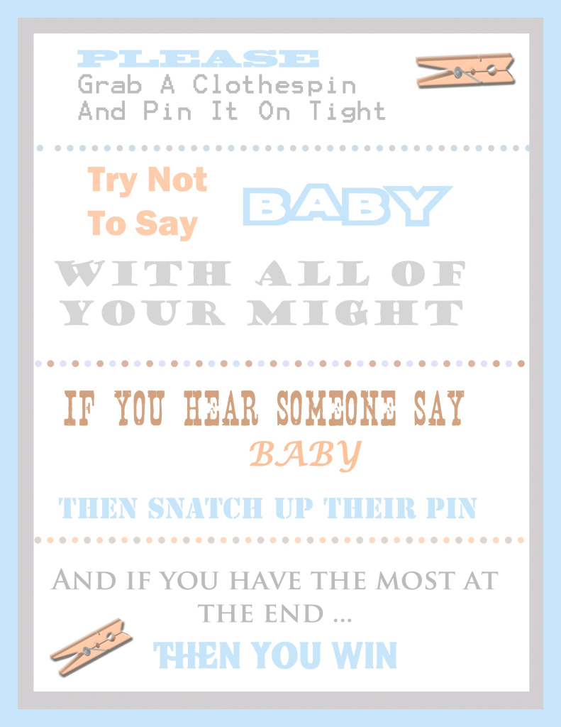 Elite The Clothespin Baby Shower Game throughout Free Baby Shower Game Templates