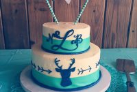Elite Turquoise & Navy Blue Deer And Arrow Baby Shower Cake | Baby Stuff in Baby Boy Shower Cakes