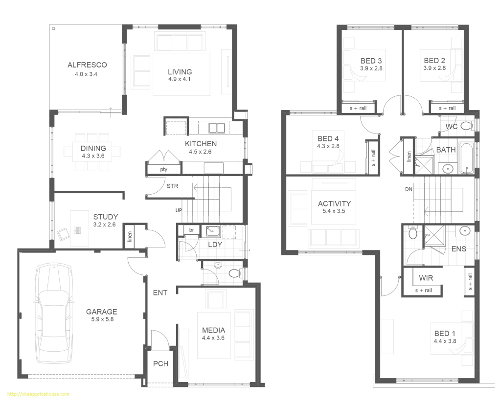 Elite Two Storey Modern House Design With Floor Plan With Elevation Newest throughout Modern House Floor Plans