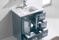 "Elite Virtu Usa Zola 30"" Single Bathroom Vanity Cabinet Set In Grey with 30 Bathroom Vanity"