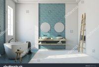 Elite White Bathroom Interior Blue Mosaic White Stock Illustration within Oval Room Blue Bathroom