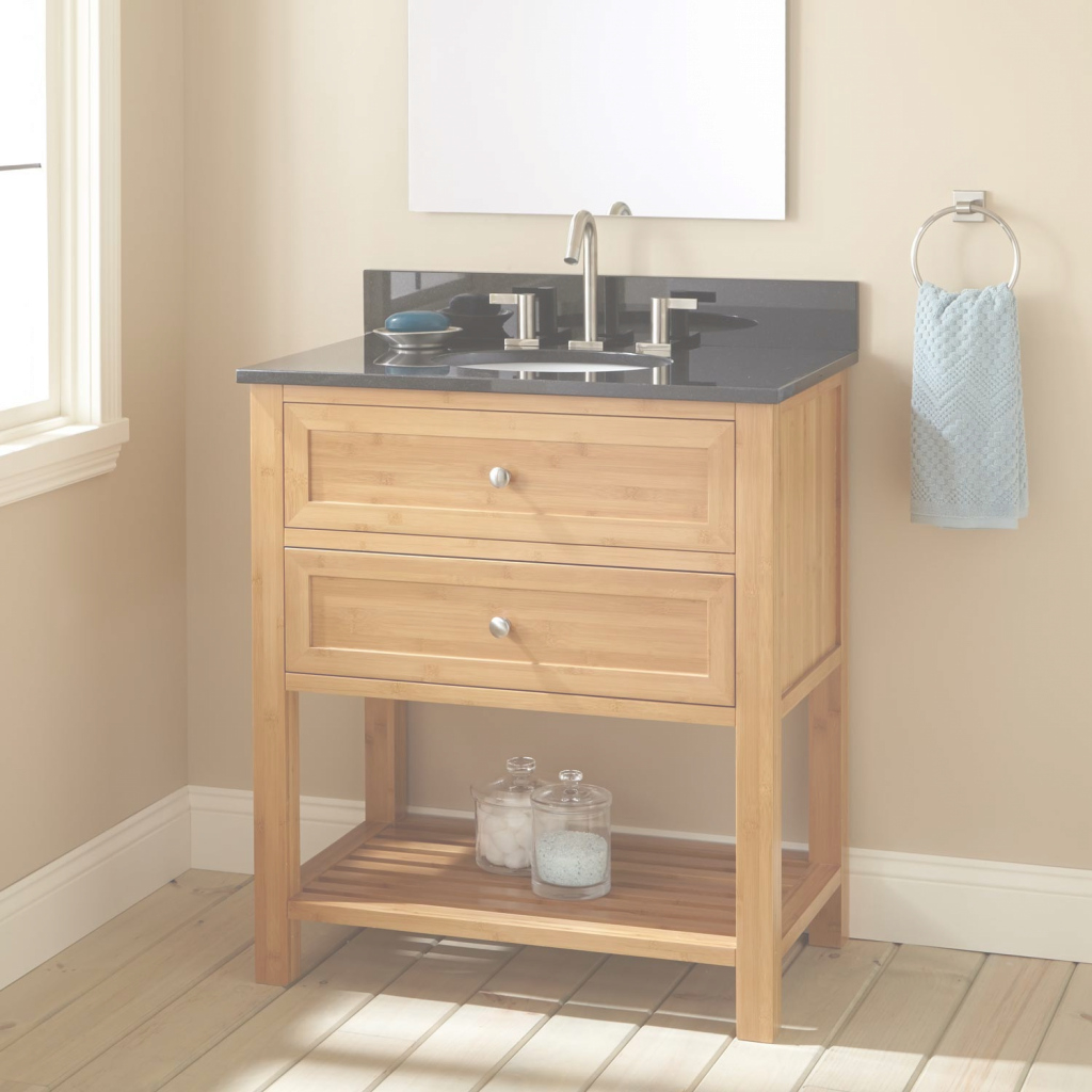 "Epic 30"" Narrow Depth Taren Bamboo Vanity For Undermount Sink - Bathroom within Bamboo Bathroom Vanity"