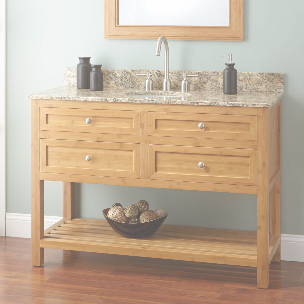 "Epic 48"" Narrow Depth Thayer Bamboo Vanity For Undermount Sink - Bathroom within Inspirational Narrow Depth Bathroom Vanities"