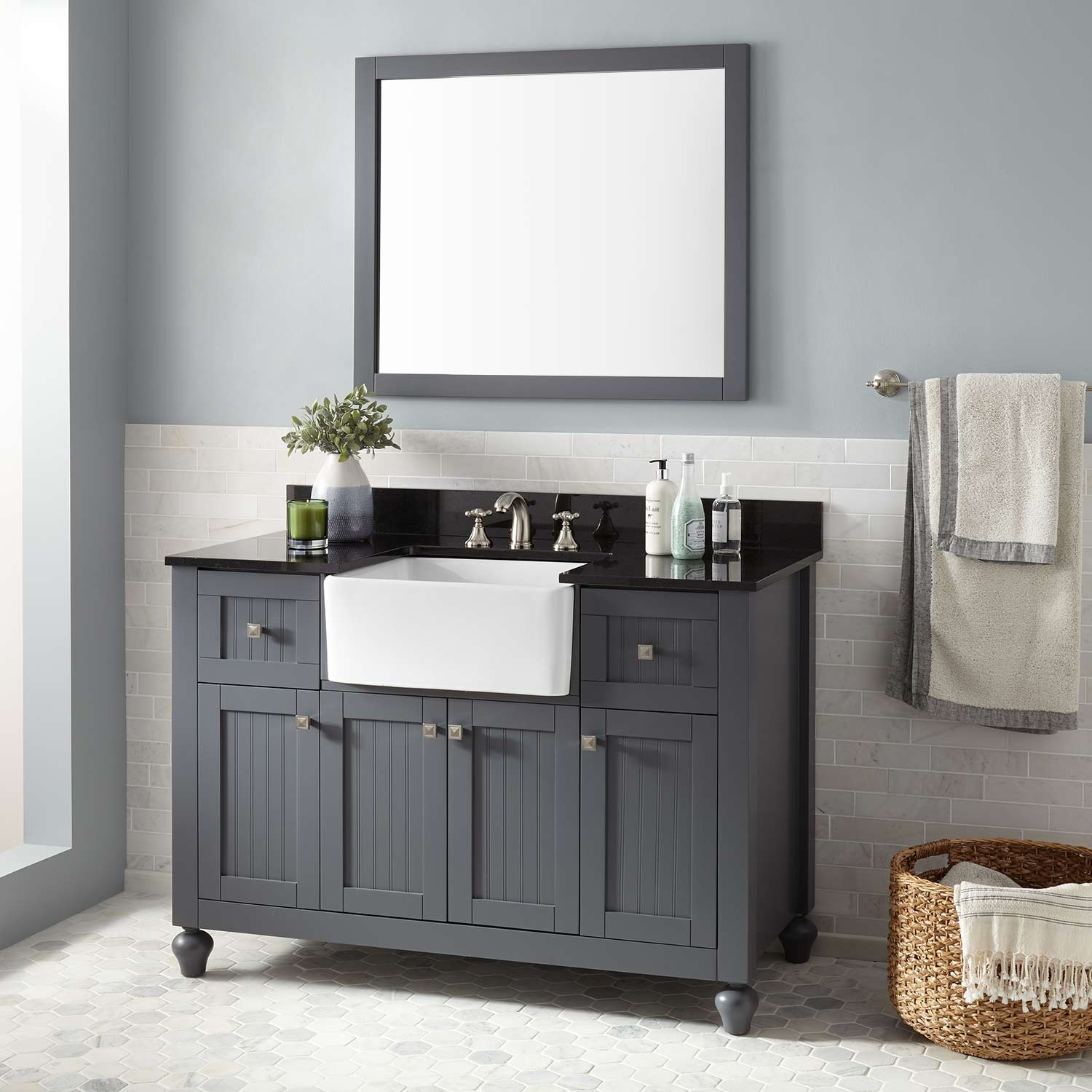 "Epic 48"" Nellie Farmhouse Sink Vanity - Dark Gray - Bathroom in Dark Bathroom Vanity"