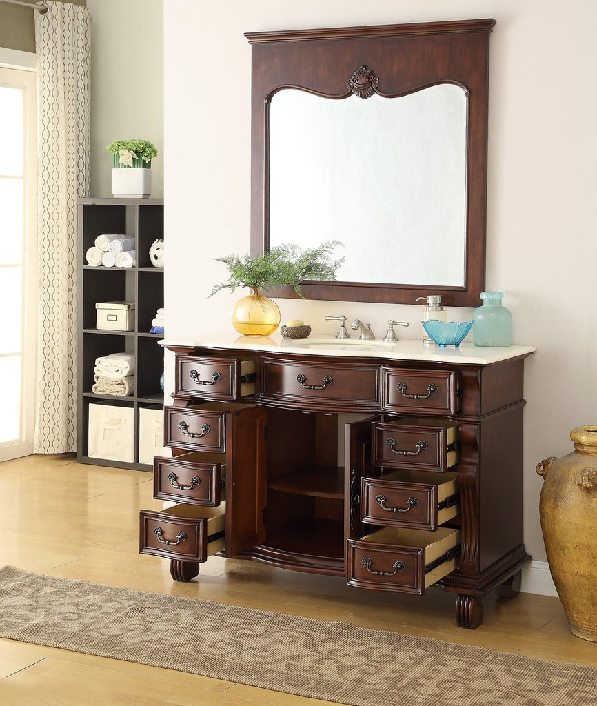 "Epic 50"" Old World Hopkinton Bathroom Sink Vanity Cabinet & Mirror # Gd in Review Bathroom Sink And Vanity"