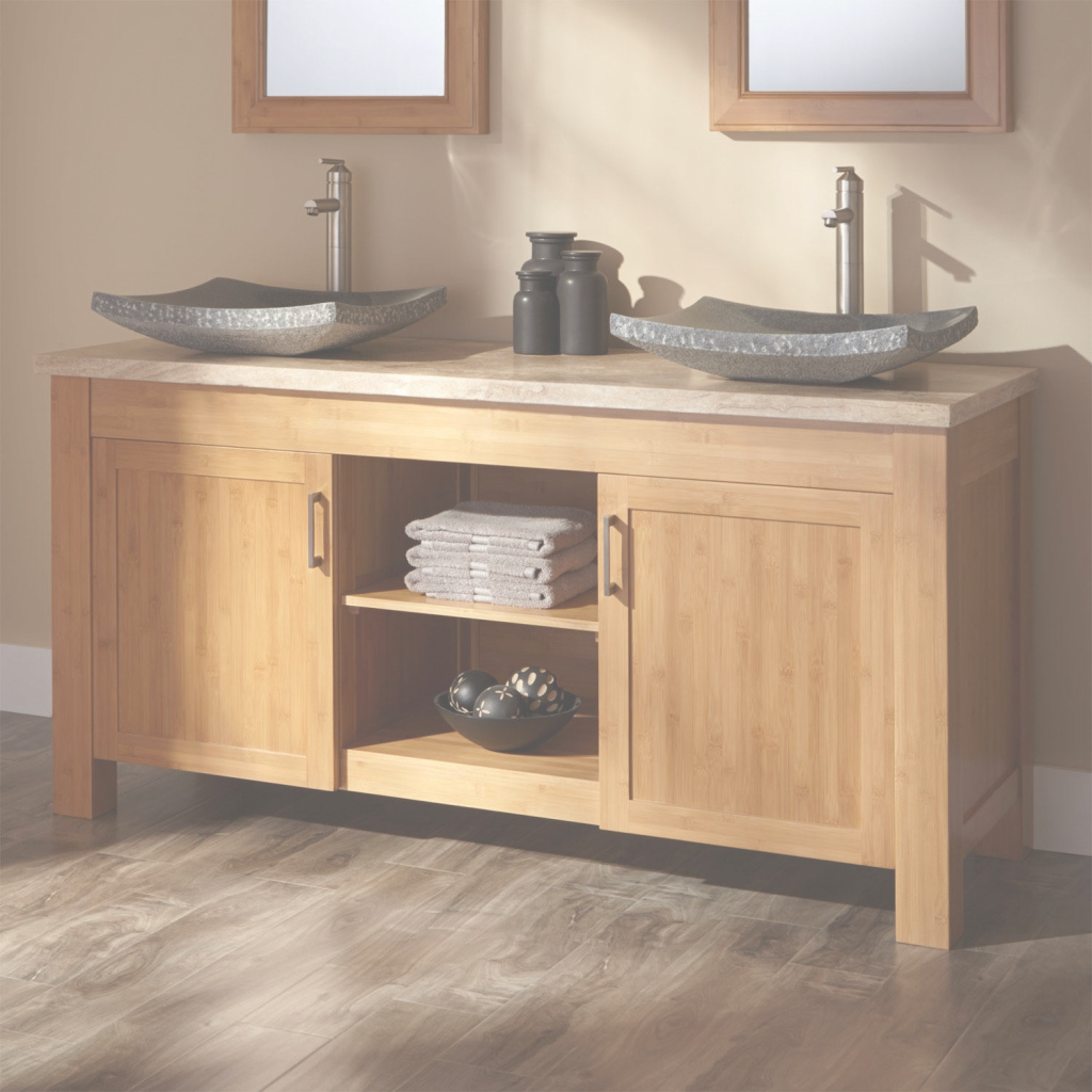 "Epic 60"" Jindra Bamboo Double Vessel Sink Vanity - Bathroom throughout Bamboo Bathroom Vanity"