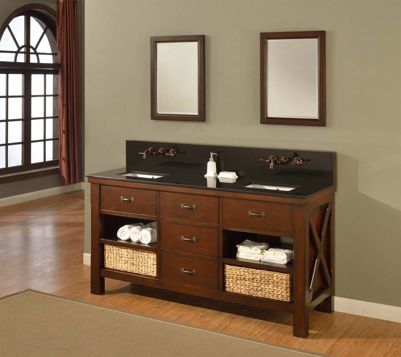 "Epic 70"" Mission Double Bathroom Vanity Sink Console. Direct To You Furniture in Unique Mission Style Bathroom Vanity"