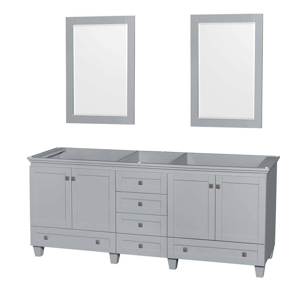 "Epic Acclaim 80"" Double Bathroom Vanity In Oyster Gray, No Countertop, No in Inspirational Bathroom Vanity No Sink"
