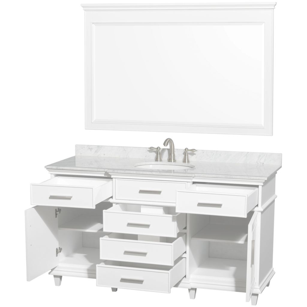 Epic Ackley 60 Inch White Finish Single Sink Bathroom Vanity Cabinet inside Bathroom Vanity 60 Single Sink