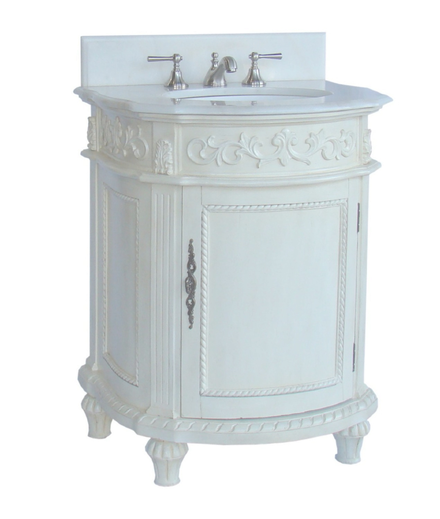 Epic Adelina 26 Inch Petite Bathroom Vanity Antique White Finish throughout Petite Bathroom Vanity