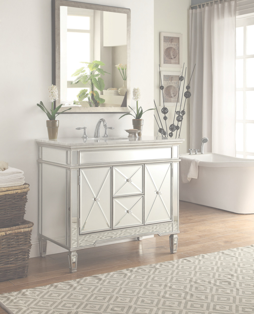 Epic Adelina 44 Inch Mirrored Bathroom Vanity White Marble Top for Mirror Bathroom Vanity