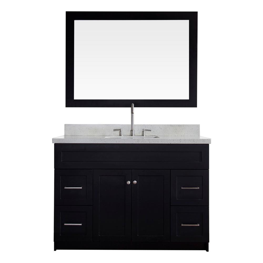 Epic Ariel Hamlet 49 In. Bath Vanity In Black With Quartz Vanity Top In in Bathroom Sink And Vanity