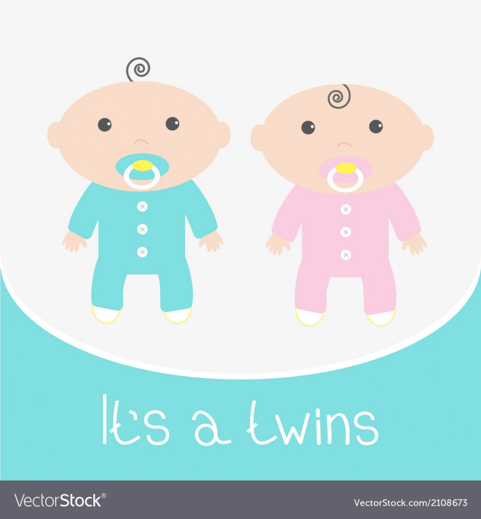 Epic Baby Shower Card Its A Twins Boy And Girl Vector Image regarding Luxury Baby Shower Its A Boy