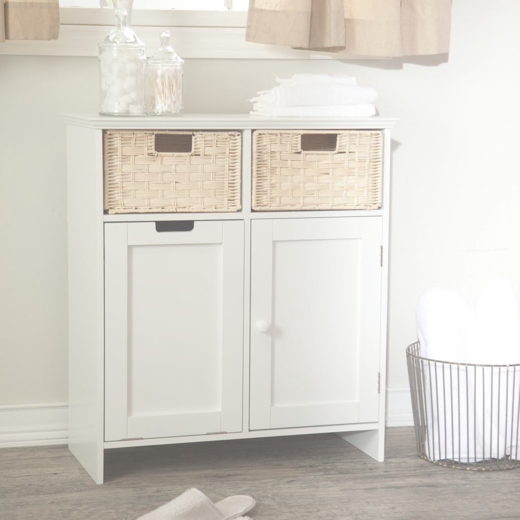 Epic Bathroom: Bathroom Floor Cabinet With Wicker Wastebasket Ideas And inside Best of Bathroom Floor Cabinet White