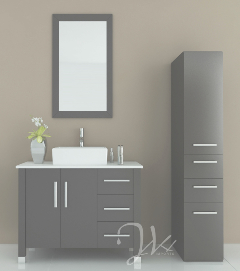 Epic Bathroom: Exciting Image Of Bathroom Decoration Using Dark Grey with regard to Free Standing Bathroom Vanity