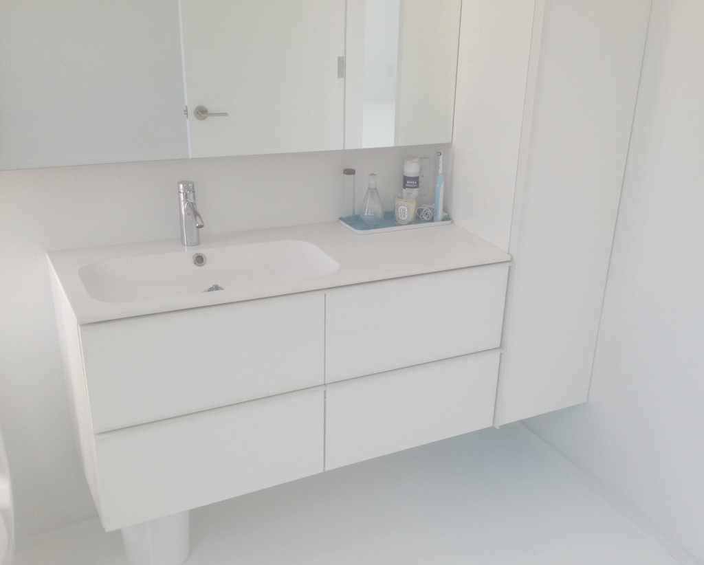Epic Bathroom: White Cabinet And Stainless Faucet With Acrylic Floating for Ikea Sink Bathroom