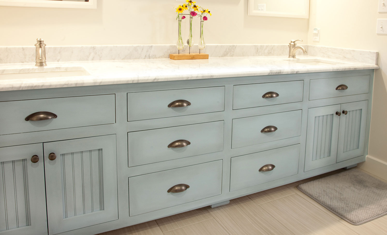 Epic Blue Painted Master Bathroom Vanity Cabinet - Woodwright's Custom in High Quality Master Bathroom Vanity