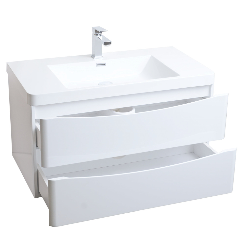 Epic Buy Merida 35.5 Inch Wall-Mount Bathroom Vanity In Gloss White Tn with Wall Mount Bathroom Vanity