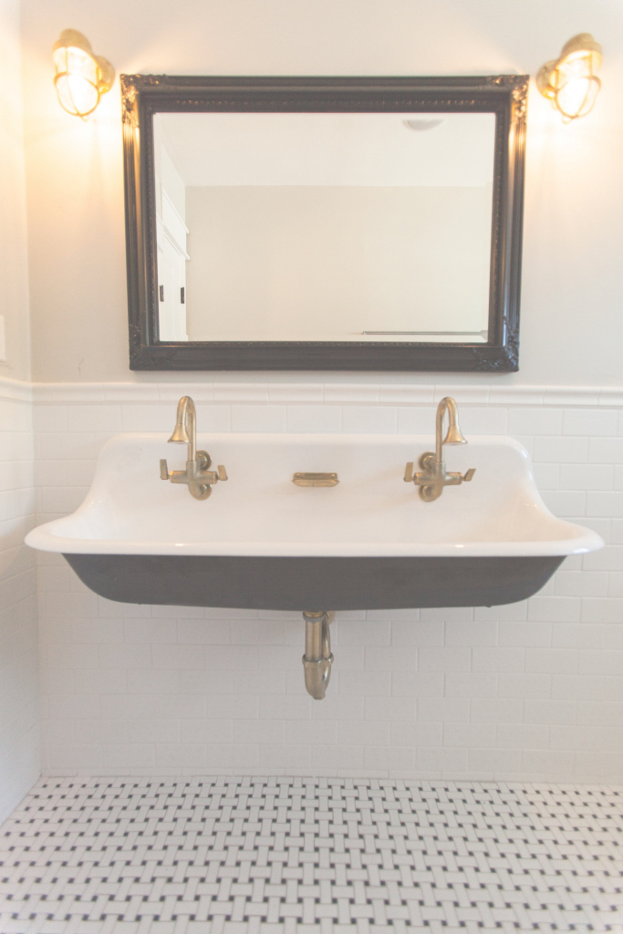 Epic Cast Iron Trough Sink With Brass Hardware -Rafterhouse in Trough Sink Bathroom