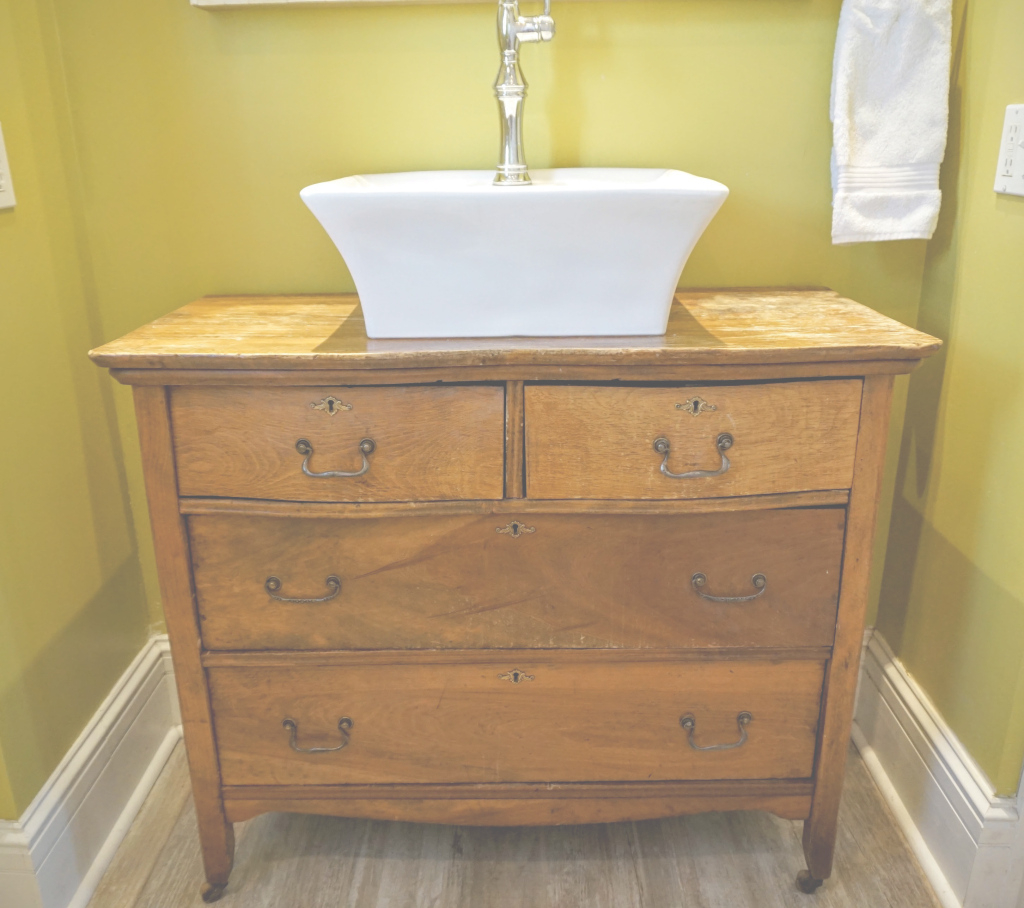 Epic Custom Bathroom Vanity From Old Dresser – When The Baby Sleeps in Dresser Bathroom Vanity