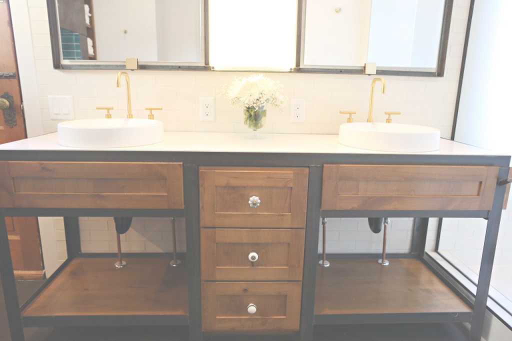 Epic Custom Industrial Metal Bathroom Vanity With Wood Drawers | Hgtv in Set Metal Bathroom Vanity