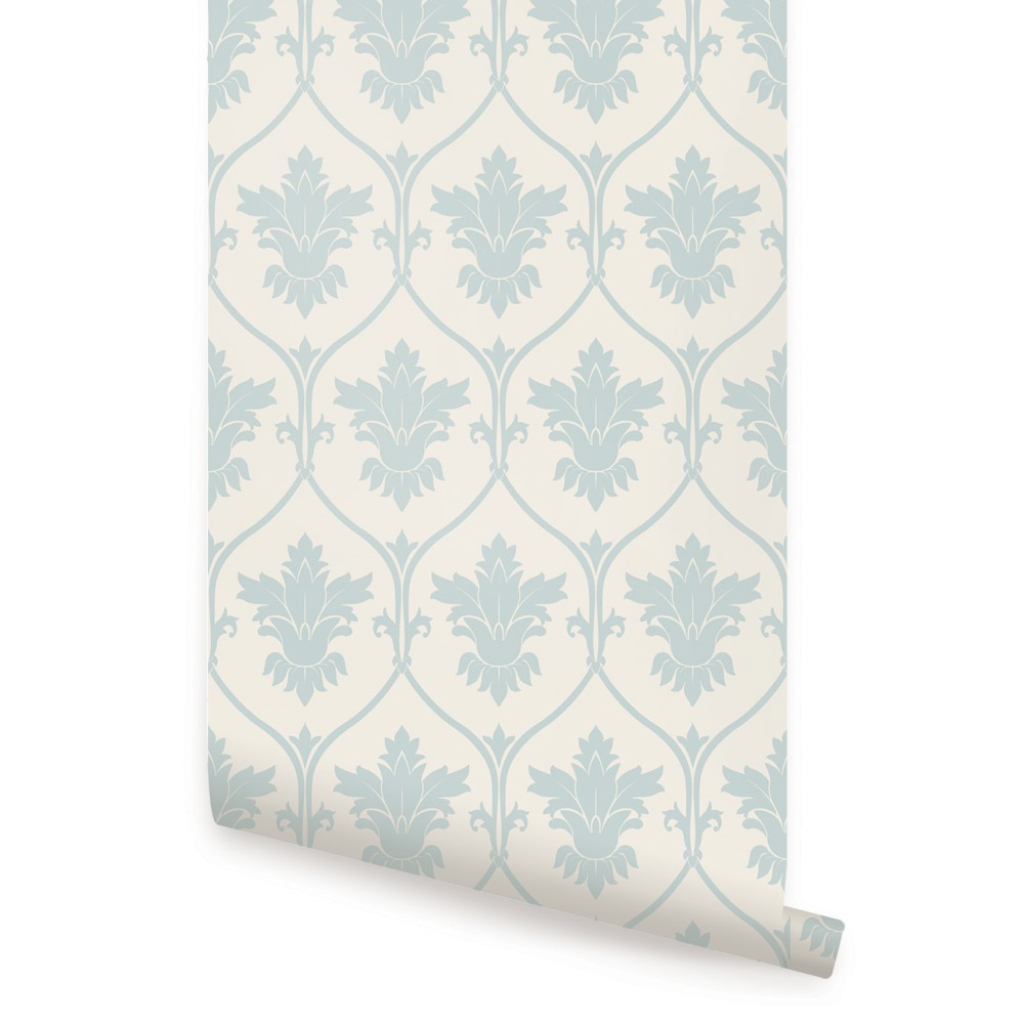 Epic Damask Wallpaper - Dusky Blue - Peel And Stick throughout Elegant Dusky Blue