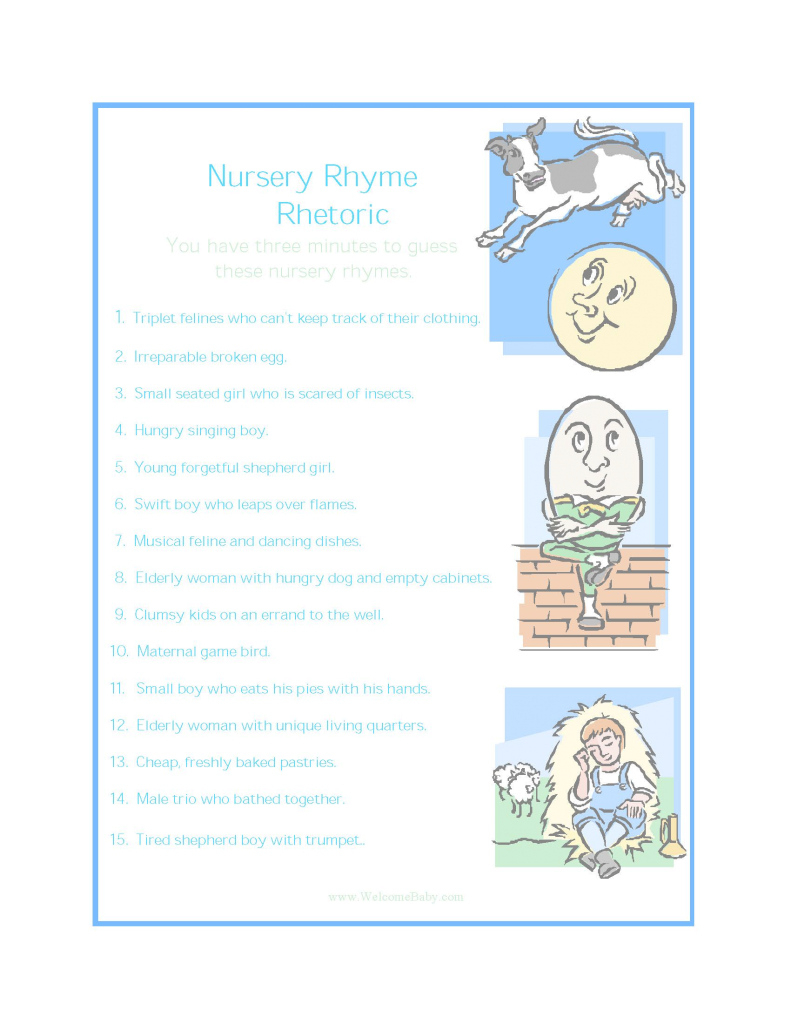 Epic Decoration Baby Shower Games For Guests Nursery Rhyme Rhetoric Free throughout Best of Baby Shower Rhymes