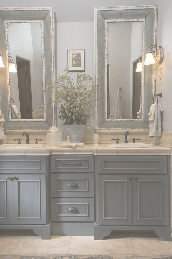 Epic French Country Bathroom, Gray Washed Cabinets, Mirrors With Painted within Best of Country Bathroom Vanities