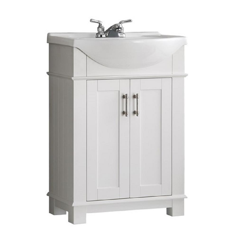 Epic Fresca Hudson 24 In. W Traditional Bathroom Vanity In White With pertaining to Bathroom Vanity With Top