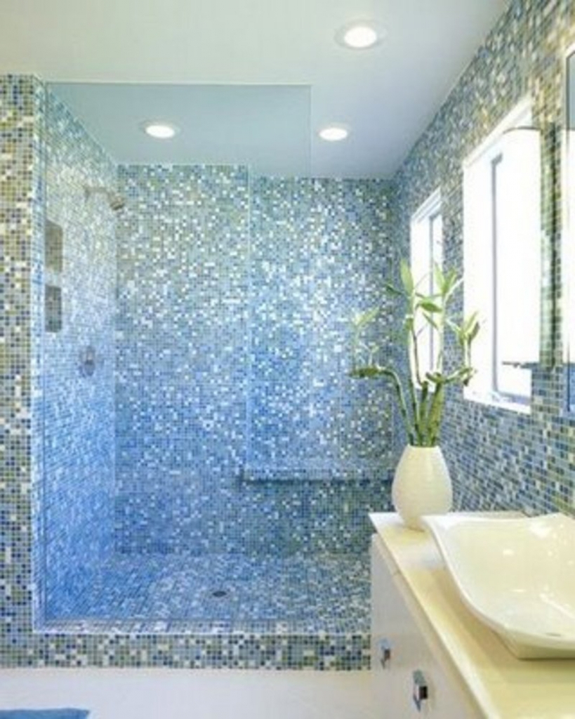 Epic Glass Mosaic Bathroom | Furniture Home Decor intended for Blue Glass Tile Bathroom