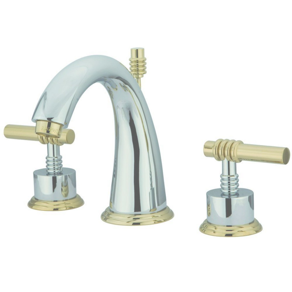 Epic Kingston Brass Milano 8 In. Widespread 2-Handle Mid-Arc Bathroom throughout Chrome And Brass Bathroom Faucets