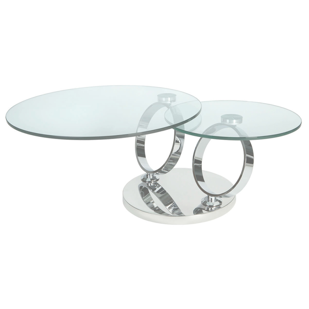 Epic Magic Rotating Glass Coffee Table Stainless Steel | Coffee Tables | Fads in Magic Coffee Table