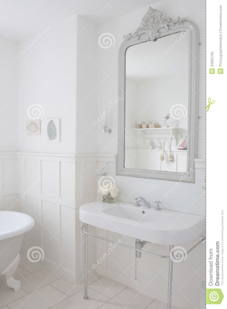 Epic Mirror Above Bathroom Sink Stock Photo. Image Of English - 33892766 intended for Bathroom Sink Mirror