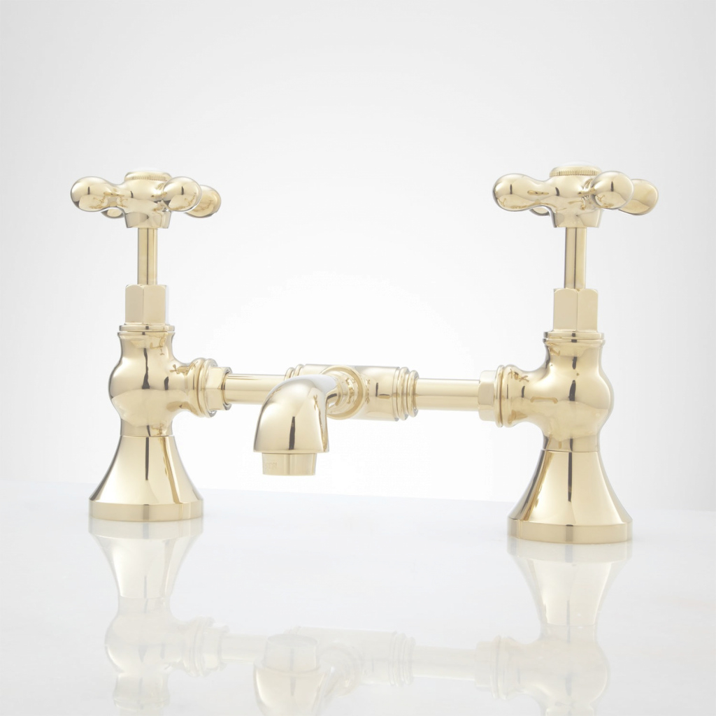 Epic Monroe Bridge Bathroom Faucet - Cross Handles - Bathroom with Brushed Brass Bathroom Faucet
