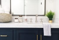 Epic Navy Vanity, Gold Hardware, Marble Vanity, Gold Sconces + Countertop within High Quality Blue Bathroom Vanity Cabinet