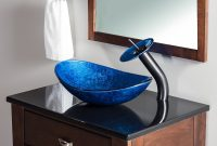 Epic Novatto Azzurro Glass Oval Vessel Bathroom Sink & Reviews | Wayfair in Oval Room Blue Bathroom