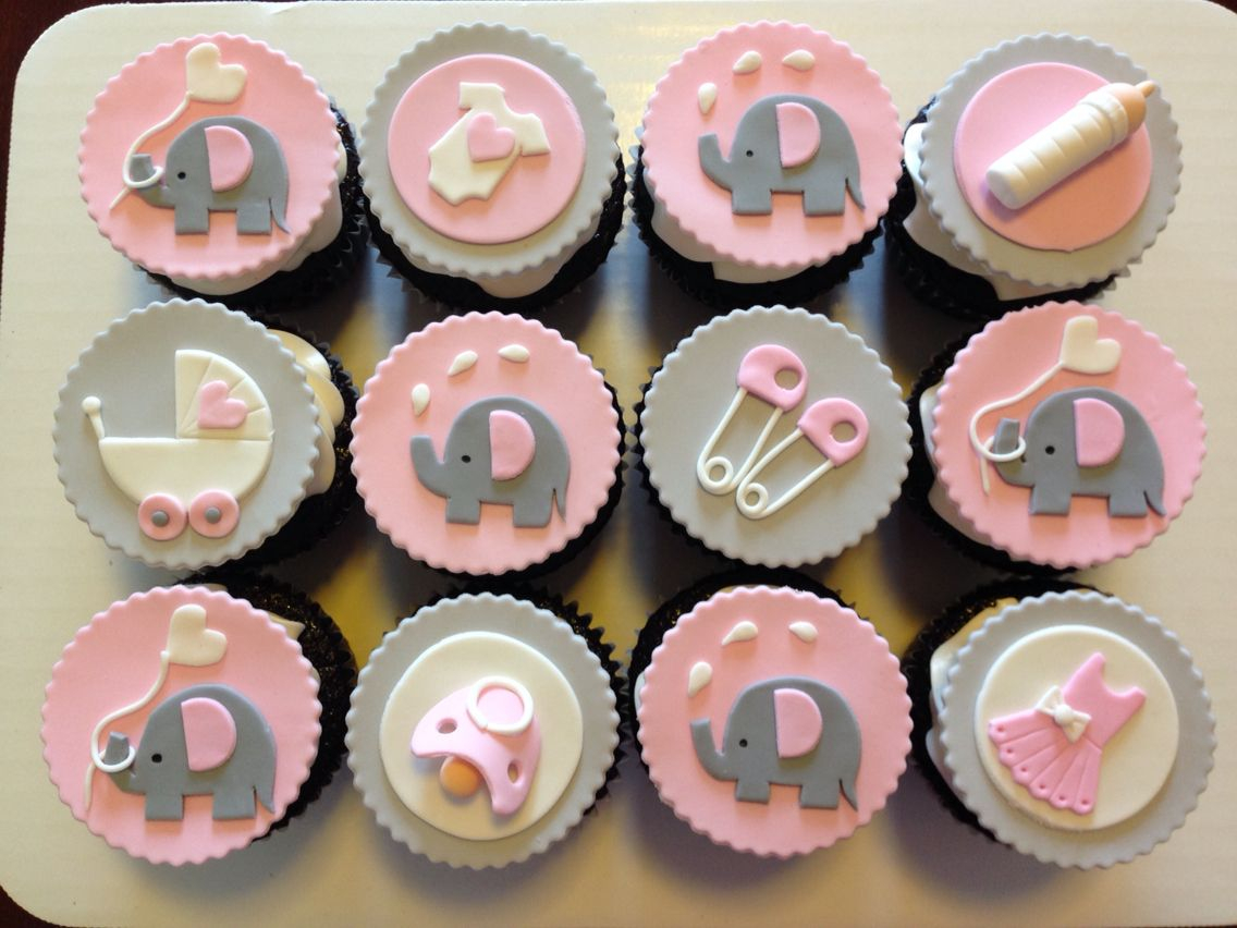 Epic Pink And Grey Elephant Cupcakes For Baby Shower. | Custom Cupcakes inside Elegant Baby Shower Cupcakes
