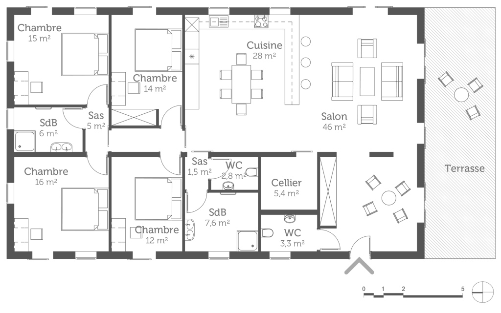 Epic Plan Maison 4 Chambre 1 307963 3527 - Choosewell.co for Plan De Maison